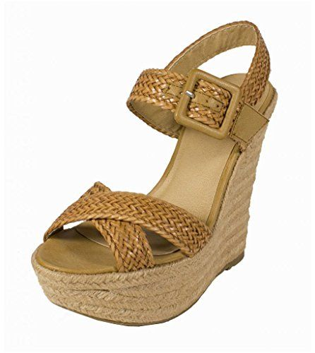 8b2383385167d0 Lustacious Women s Peep Toe Braided Espadrille Platform Wedge Sandal with  Adjustable Buckle Strap