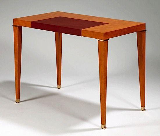 Table bureau Jacques Quinet en poirier plateau rectangulaire