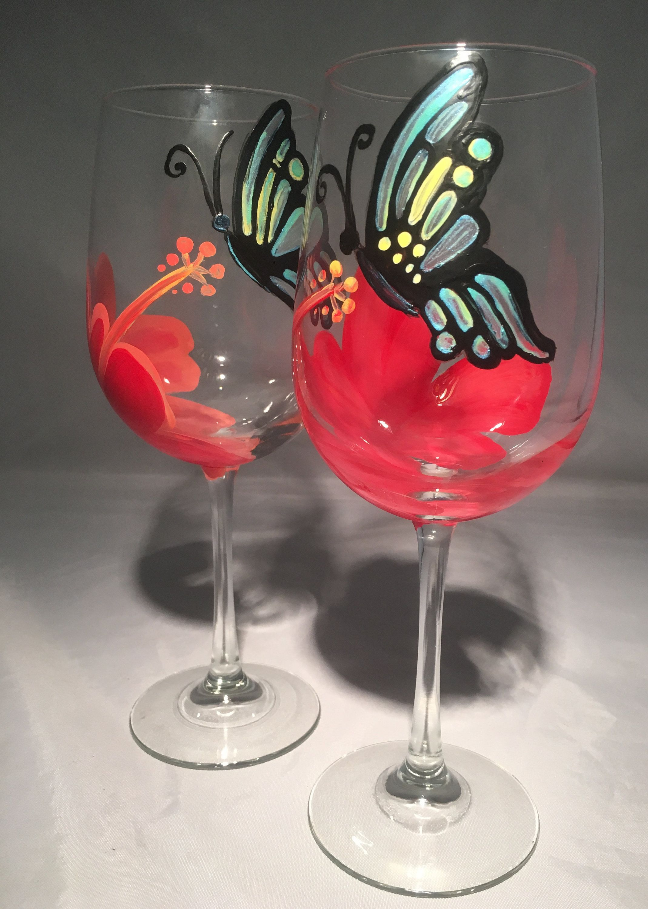 Excited To Share This Item From My Etsy Shop Handpainted Butterfly And Hibiscus Flower Stemmed Wineglasses Set Of 2 H In 2020 Butterfly Art Hand Painted Wine Glass