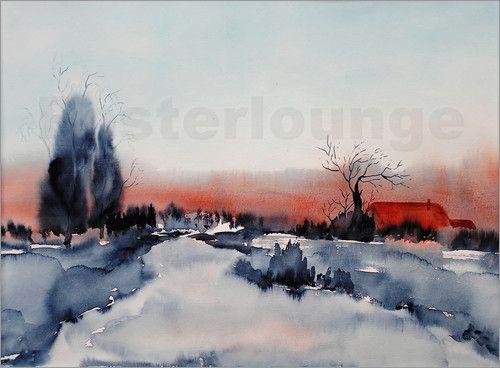 Nettesart Winterlandschaft Aquarell Malerei Landschaft