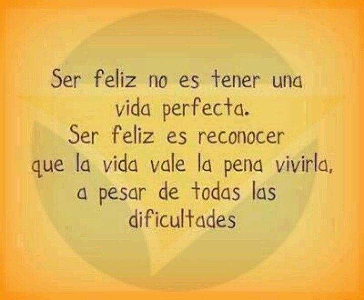 Frases De La Vida: Ser Feliz No Es Tener Una Vida Perfecta. Ser Feliz Es