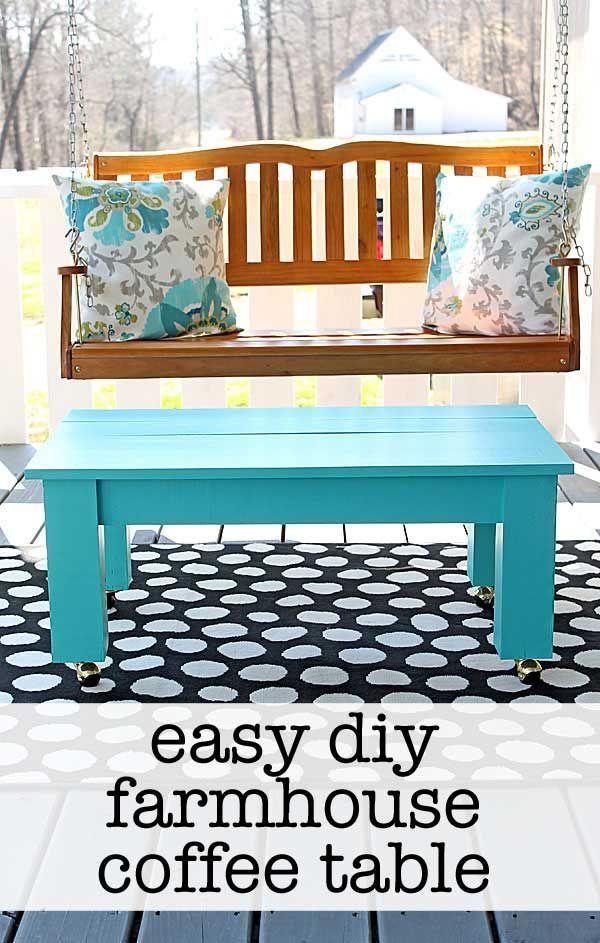 easy farmhouse style diy coffee table diy life diy coffee rh pinterest com