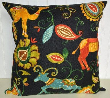 Playful Decorative Pillow Cover 20 x 20- Throw Pillow, Playroom Pillow Blue, Red, Yellow, Green and  Black