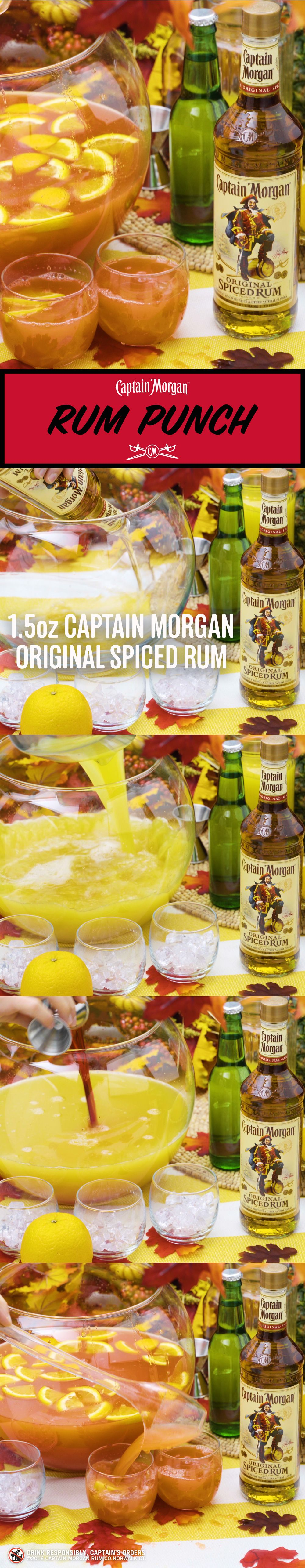 Fall is the perfect time for sharing. Coincidently, fall is the perfect time for Captain's Rum Punch.  Rum Punch Recipe (25 servings): 750mL bottle of Captain Morgan Original Spiced Rum 2 x 46 oz cans of pineapple juice 3 cups orange juice 4.5 oz grenadine 3 cans of lemon-lime soda 3 sliced oranges Get more rum recipes at https://us.captainmorgan.com/rum-cocktails/?utm_source=pinterest&utm_medium=social&utm_term=holidays&utm_content=rum_punch&utm_campaign=recipe