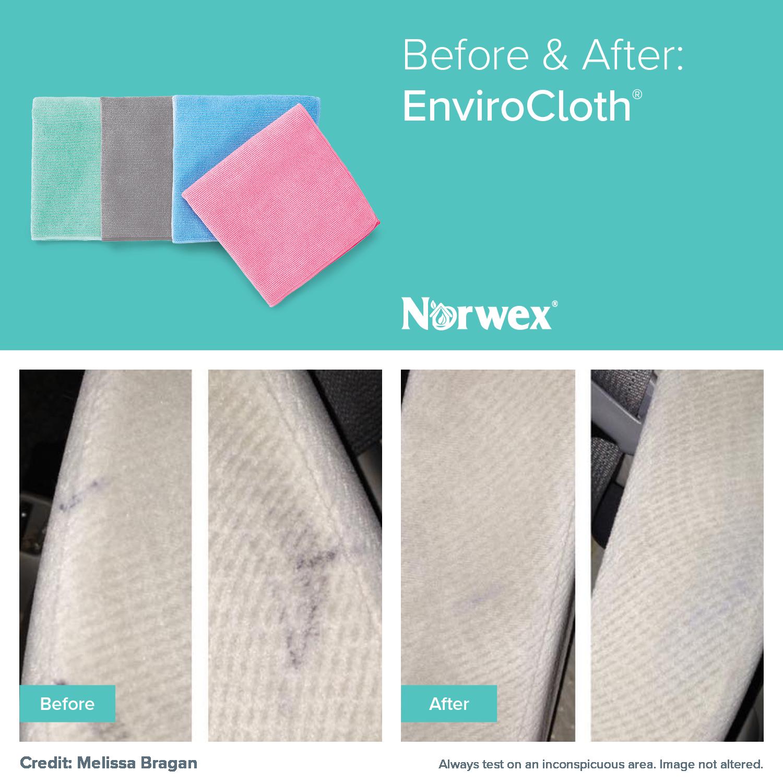 The Norwex antibacterial Microfiber EnviroCloth removes dust