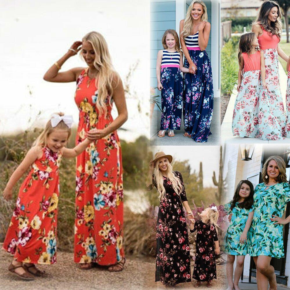 331de74f01 Family Matching Dress Mother Daughter Girls Floral Holiday Long Maxi Dress  - Maxi Dresses - Ideas
