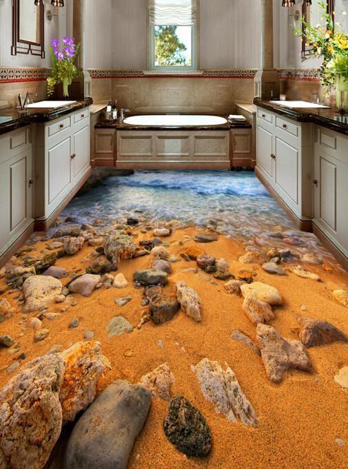 3D Beach Stones Floor Mural - AJ Walls - 3