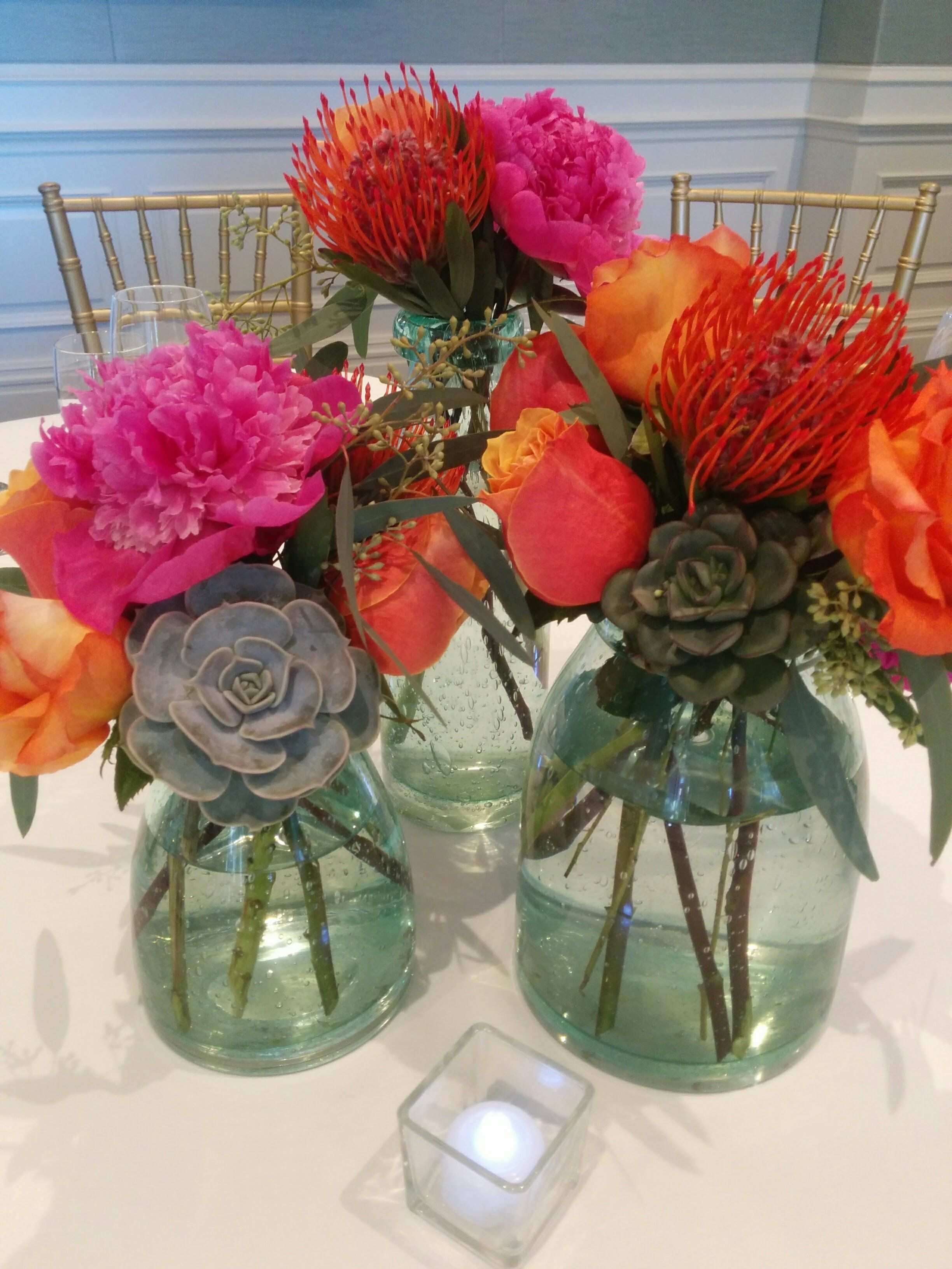 Trio of vases with succulents peonies roses protea seeded trio of vases with succulents peonies roses protea seeded eucalyptus reviewsmspy