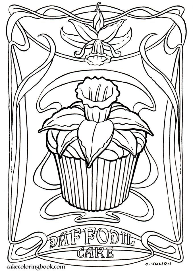 Cup cake Coloring page Adult ColouringCoffeeTeaCakes