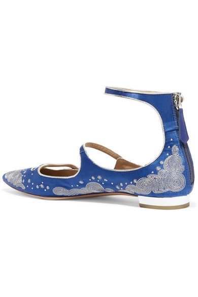 + Claudia Schiffer Cloudy Star Embroidered Satin Point-toe Flats - Blue Aquazzura