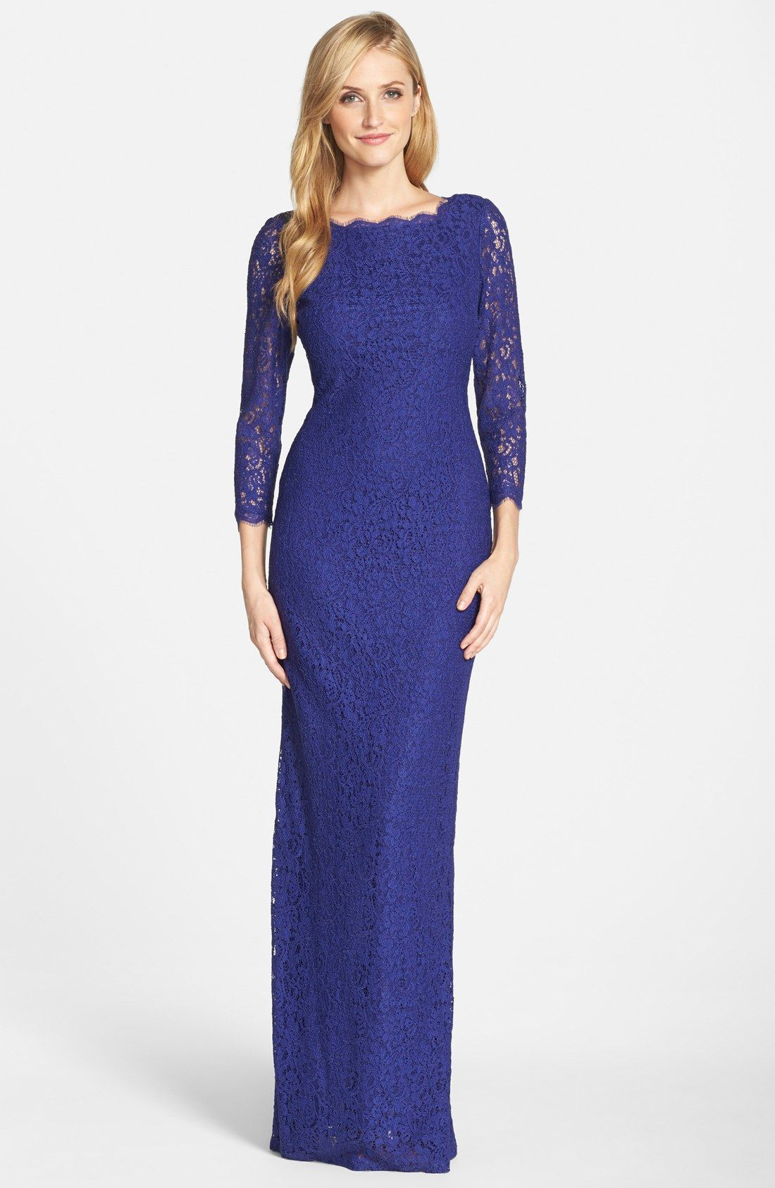 Adrianna Papell Scalloped Lace Gown (Regular & Petite) | Dresses ...