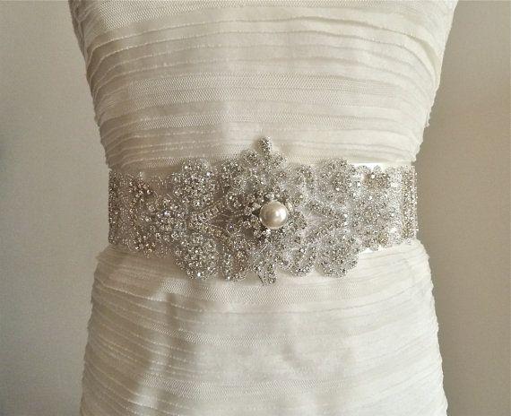 NEW  Bridal crystal sash dramatic wedding belt by LiveAdorned,