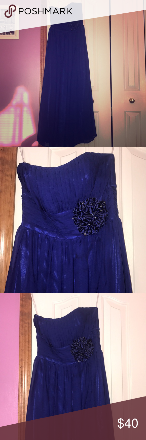 Strapless navy blue long dress only worn once for a wedding it is a