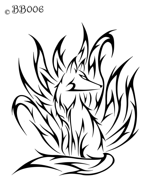 Tribal Ninetails Commission By Blackbutterfly006 D5utmqa Jpg 1024 1365 Diseno De Tatuaje De Zorro Tatuajes Zorro Dibujos Tribales