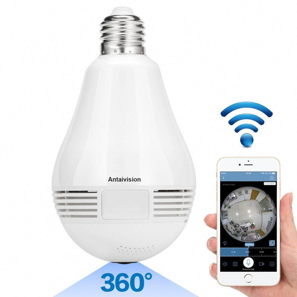 Antaivision 960p Wifi Wireless Ip Bulb Hidden Camera With Fisheye