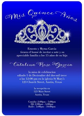 Bling Tiara Quince Invitation Pinterest Quinceanera invitations