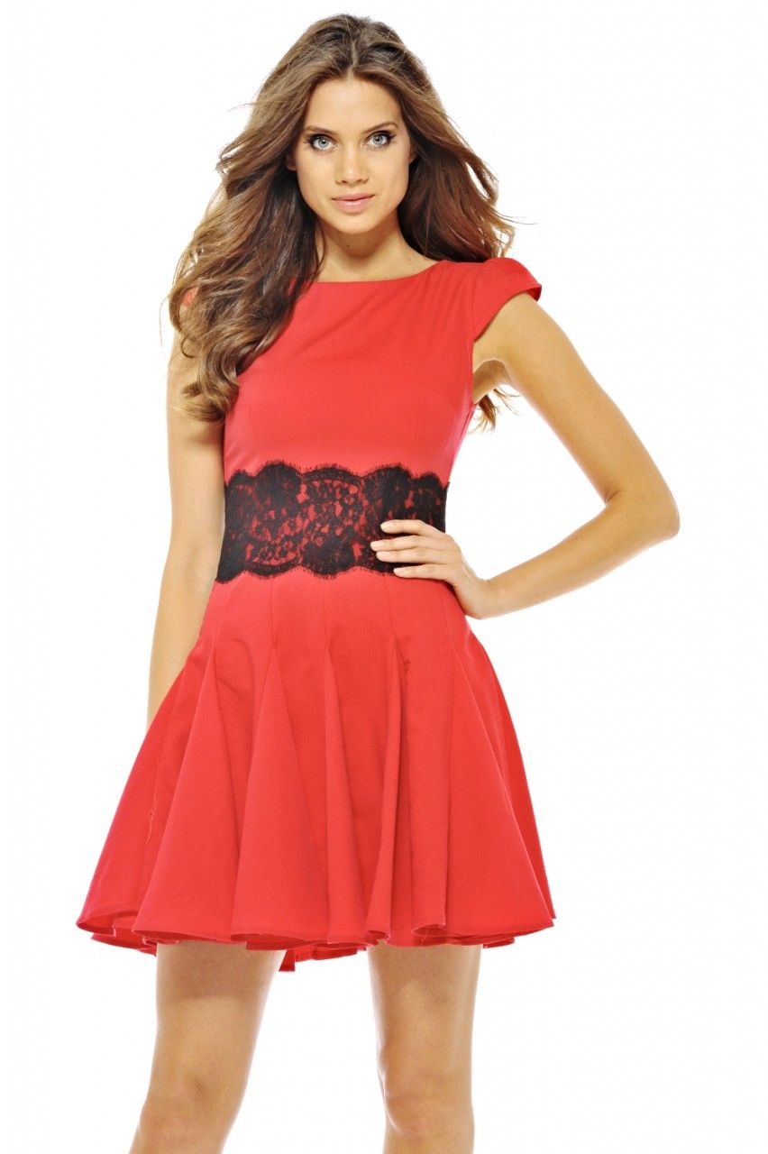 Red fit and flare dress with black lace waist overlay stylin