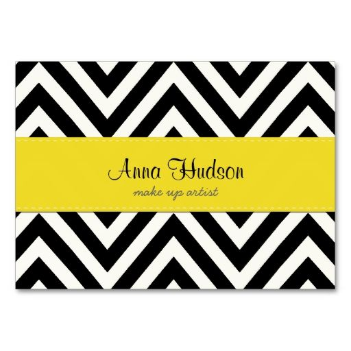 Chic Zig Zag Stripes Lines White Black Yellow Business Cards. I love this design! It is available for customization or ready to buy as is. All you need is to add your business info to this template then place the order. It will ship within 24 hours. Just click the image to make your own!