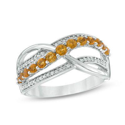 Zales 1/6 CT. T.w. Diamond Multi-Row Crossover Ring in Sterling Silver zdC8P