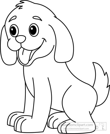 Puppy Clipart Black And White Felt Board Dog outline