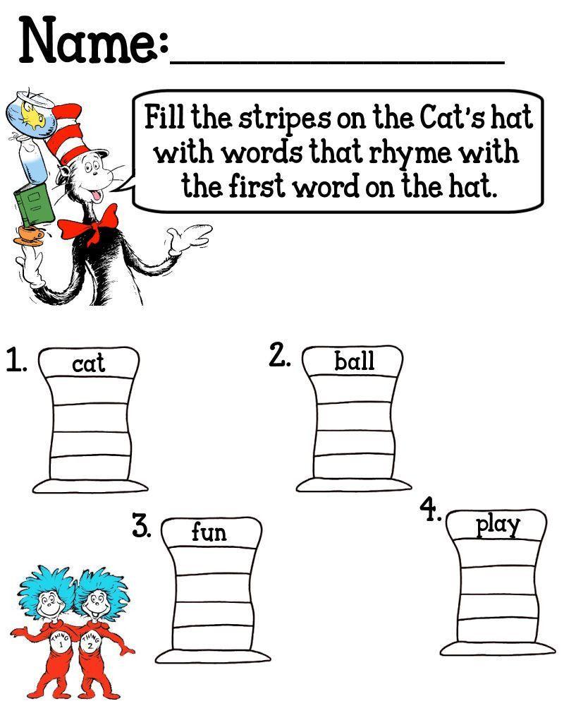Dr Seuss Rhyming Worksheets Kindergarten Worksheet For Kindergarten Dr Seuss Math Dr Seuss Activities Seuss Classroom [ 1000 x 800 Pixel ]