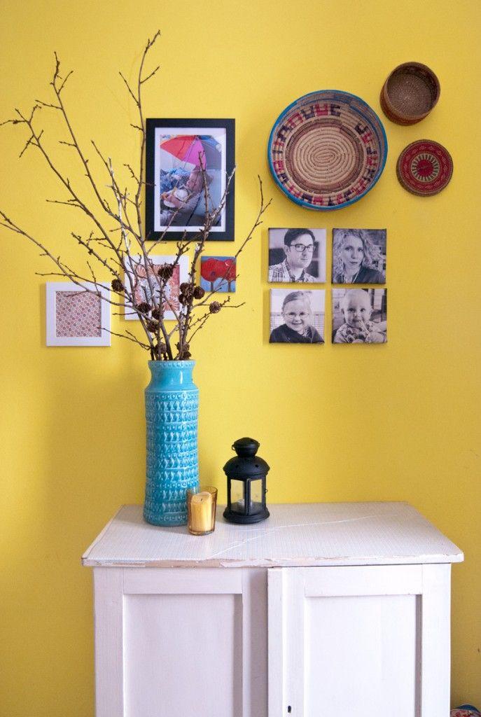 Dekoideen mit Gelb und Türkis im Flur Wohnung Pinterest