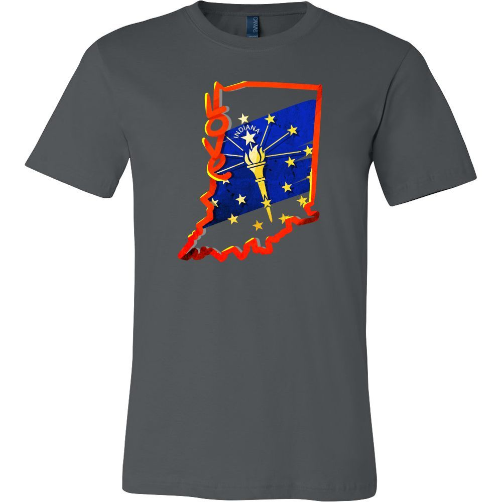 Love Indiana State Flag Map Outline Souvenir