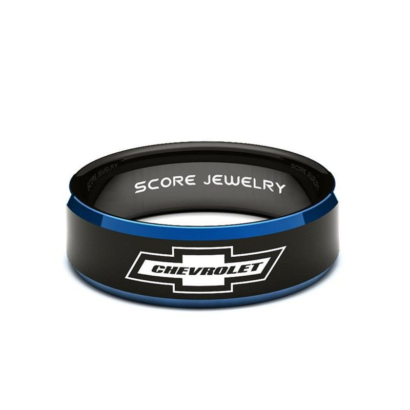 8mm Black Tungsten Band With Blue Beveled Edge Chevrolet Chevy