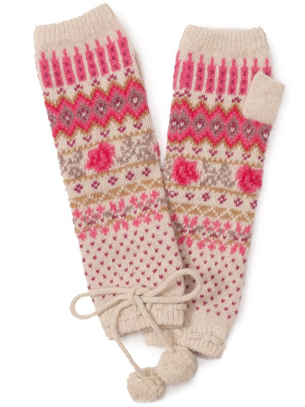 Pink fair isle fingerless gloves. Great cheerful pink motifs. Also ...