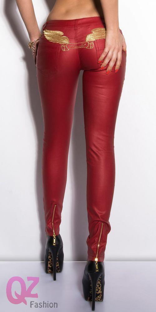 2829c1fefb Qz Fashion Bőrhatású nadrág 0000IN50264 PIROS   fashion