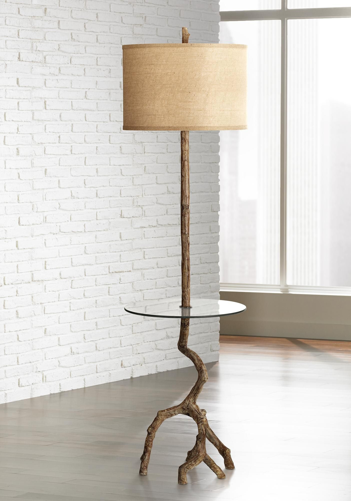 Beachwood Floor Lamp With Glass Tray Table 5d496 Lamps Plus Floor Lamp Floor Lamps Living Room Mission Style Floor Lamps