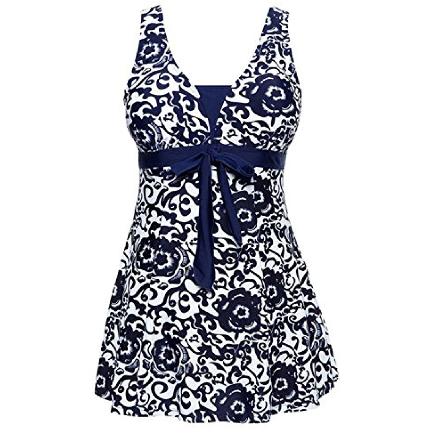 77a17352ec910 Zando Womens Plus Size High Waist One Piece Swimdress Floral Printed Tummy  Control Swimwear Skirted Swimsuit Bathsuit   Continue to the product at the  image ...