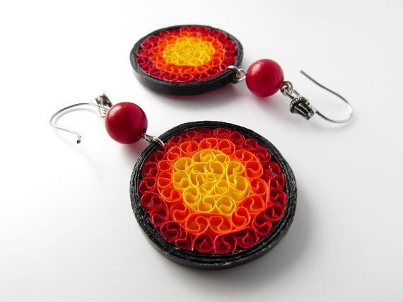 Paper jewelry – Lava rings, red orange yellow black, paper quilled earrings – First anniversary gift – Handmade colourful eco chic jewellery
