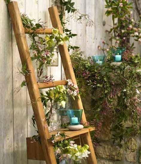 15 Impressive Ideas To Make Wooden Ladder Garden Garden Ladder Ladder Decor Old Wooden Ladders
