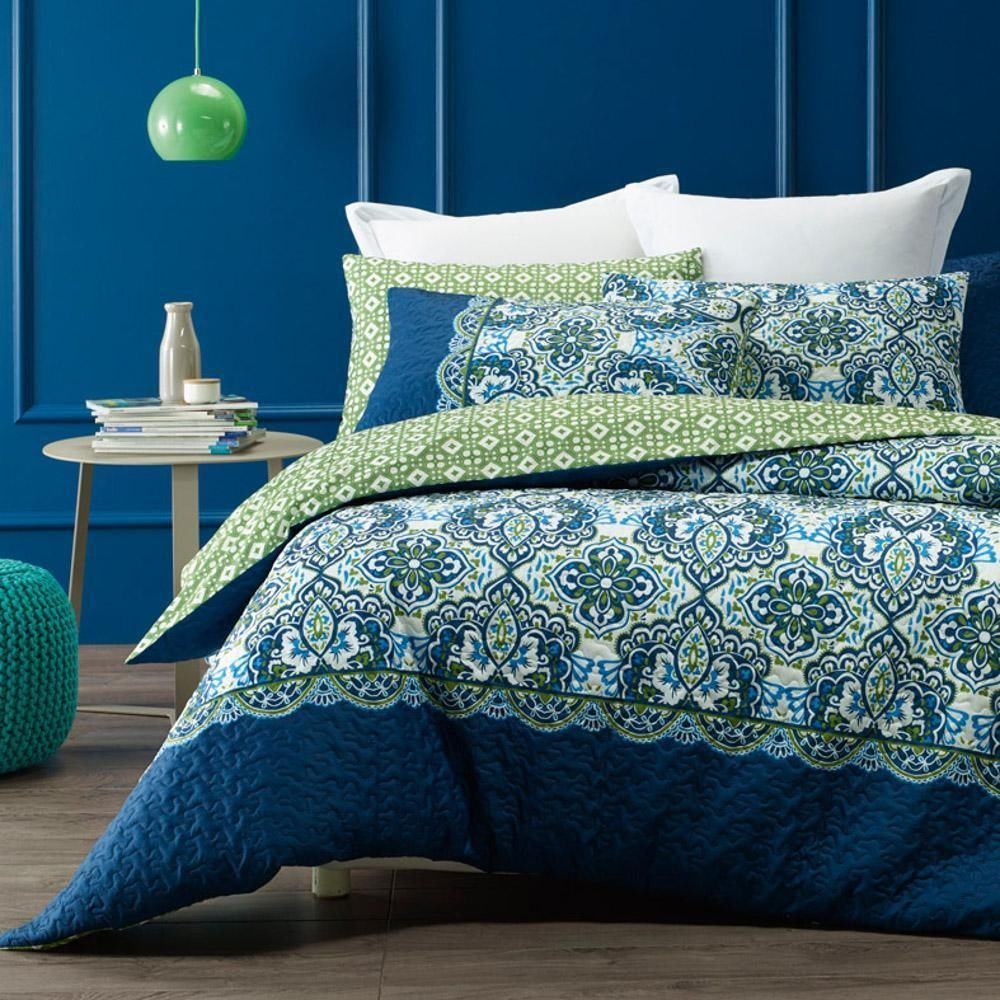 Phase 2 Morocco Blue Green White Quilted Quilt Doona Cover Set ... : quilted quilt - Adamdwight.com
