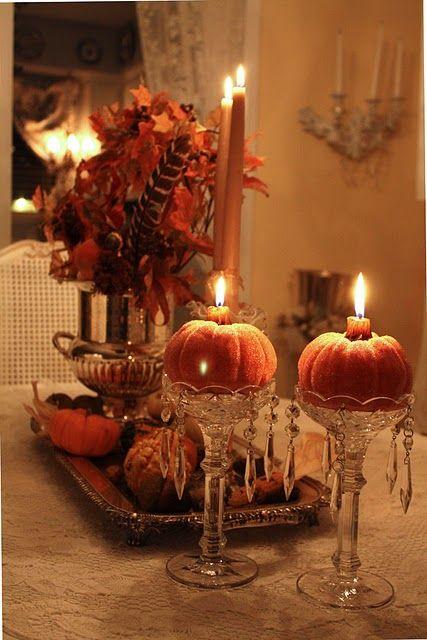 Elegant fall tablescape using mini pumpkins as candle holders   - romantic halloween ideas