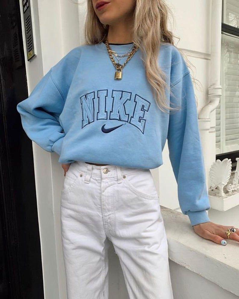 Blue Vintage Nike Sweatshirt Nike Crewneck Blue Embroidered Etsy In 2021 Vintage Nike Sweatshirt Cute Dresses For Teens Trendy Outfits [ 993 x 794 Pixel ]