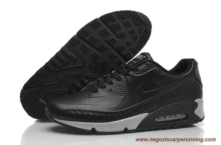 size 40 f20cf af969 All Nero Bianco Nike Air Max 90 Leather Uomo scarpe da ...