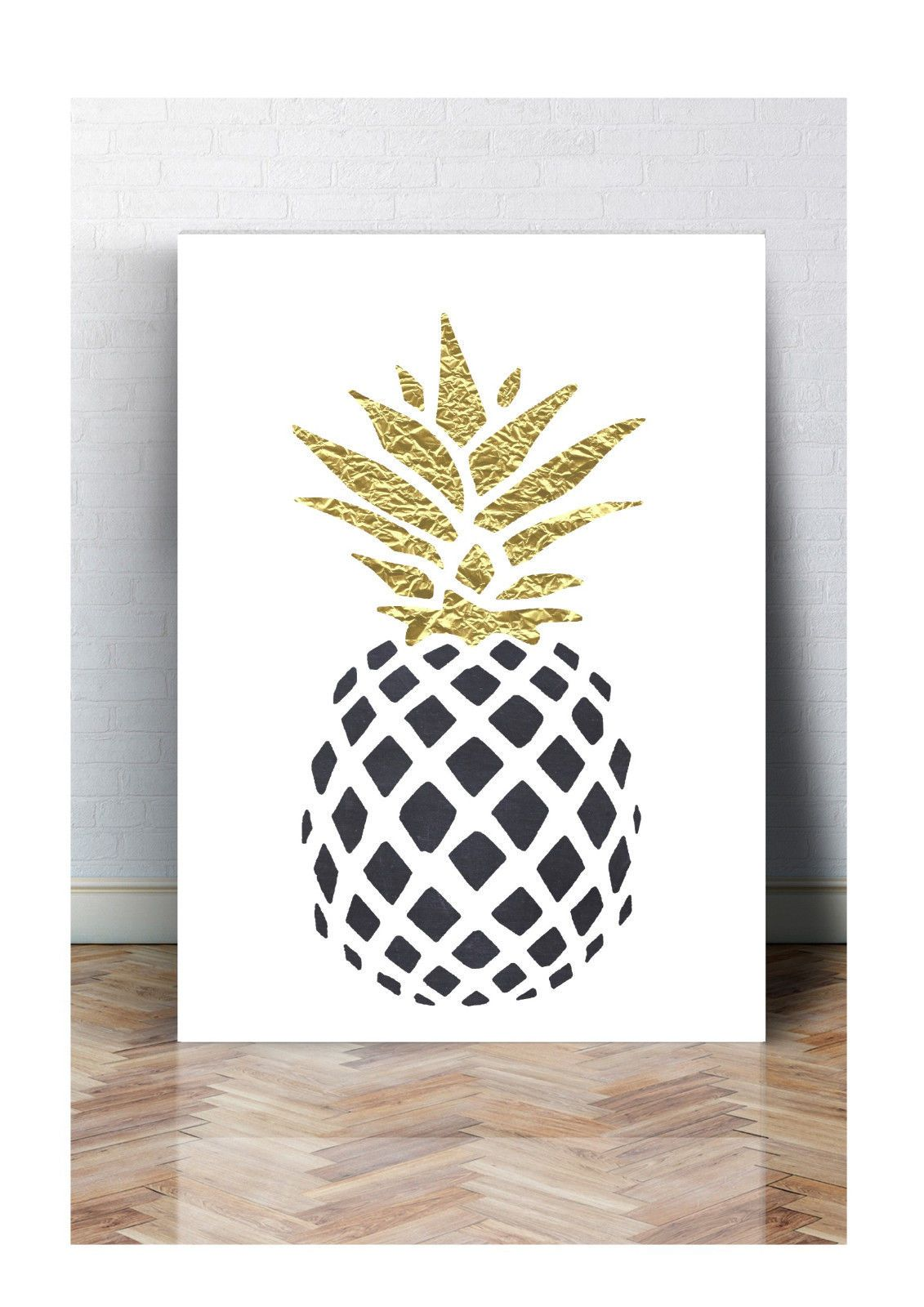 details zu druck fineart bild poster ananas black print a4 a3 typografie fakegold bilder. Black Bedroom Furniture Sets. Home Design Ideas