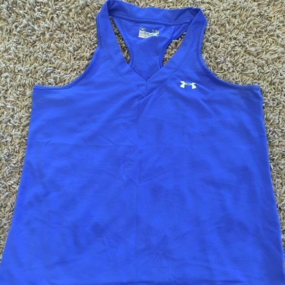 UA blue racer back tank Racer back workout tank. Used a few times but still in great condition. Too big for me now. Under Armour Tops Tank Tops