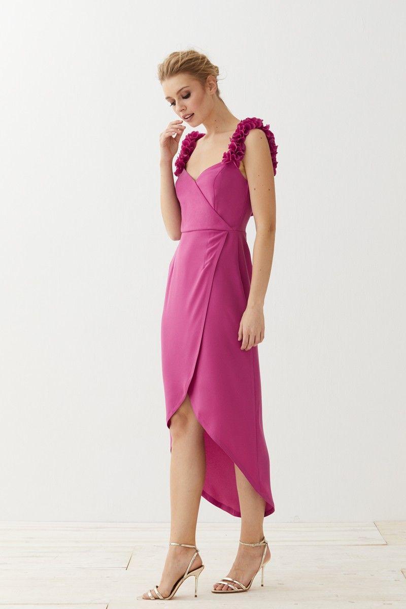 Vestido midi cruzado frambuesa Delphi | Vestidos de fiesta, Vestidos ...
