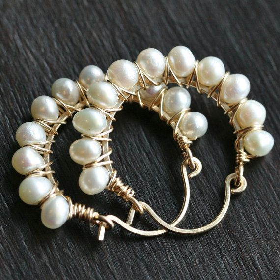 Freshwater Baroque White Pearl Earrings on a Handmade Hook Shape Hammered End Ear Wires in 14K Gold Filled Pearl Earrings Brides Earrings