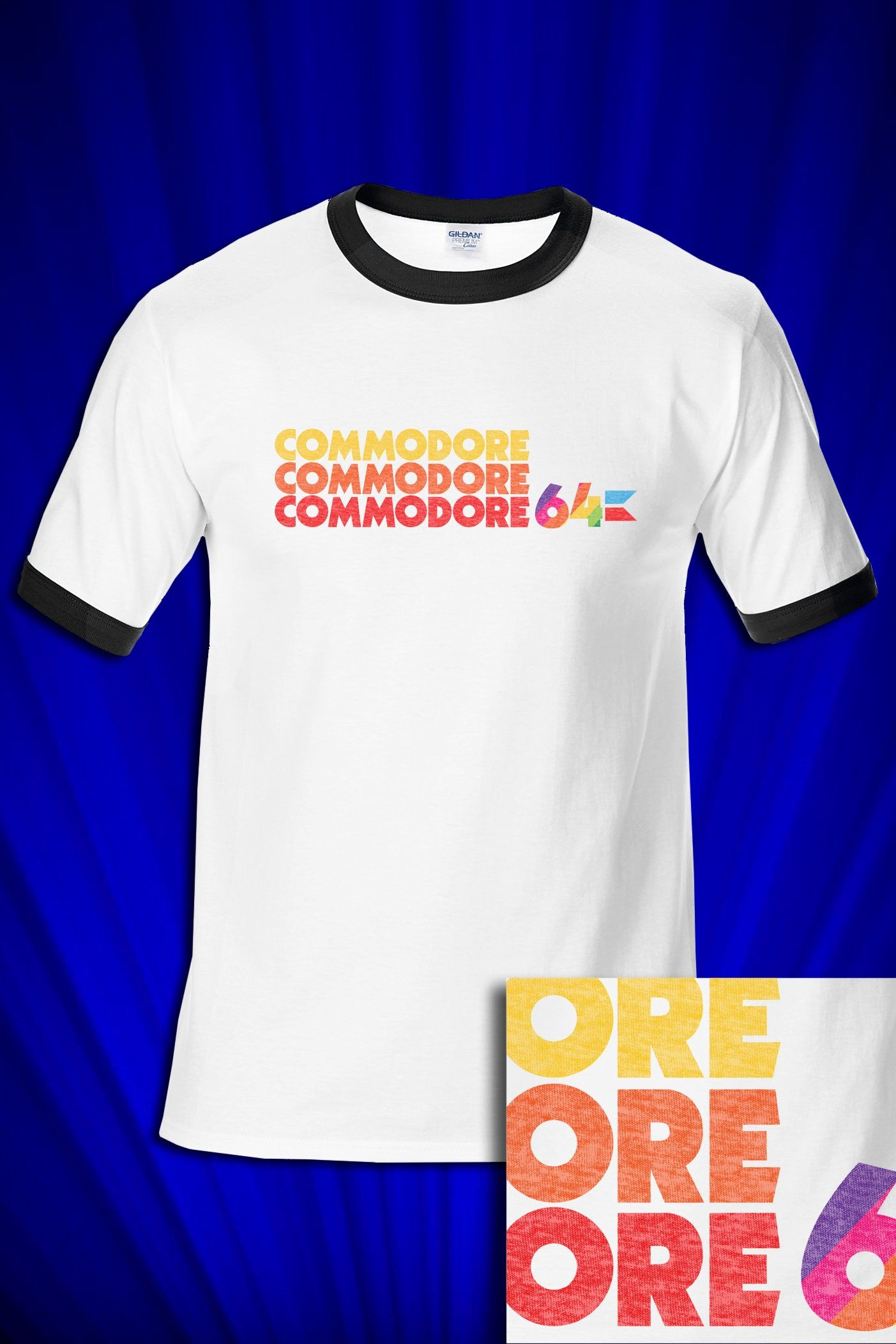 """""""Welcome to TIME WARP MUSIC T's. Amazing quality graphic shirts! Commodore 64 RINGER (replica of the classic 80s tee) PLEASE PLEASE, understand all brands fit differently, BE SURE TO MEASURE YOUR FAVORITE TEE YOU CURRENTLY OWN & COMPARE to OUR SIZE CHART ABOVE to get the BEST FIT FOR YOU. If you fail to do this and choose the wrong size, you may exchange as long as it's not washed or worn. It's up to the BUYER to cover shipping BACK TO US and then AGAIN BACK TO YOU. FREE SHIPPING DOES NOT AP"""