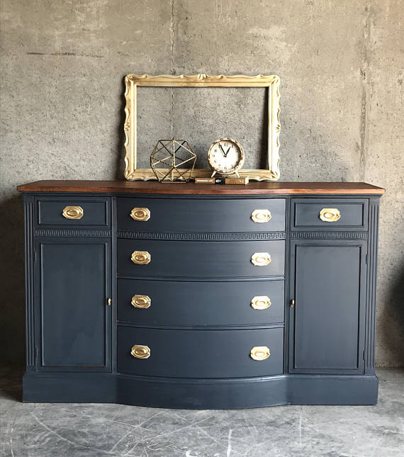 10 Deep Sideboard Buffet Table ~ Sold navy blue buffet sideboard duncan phyfe living room
