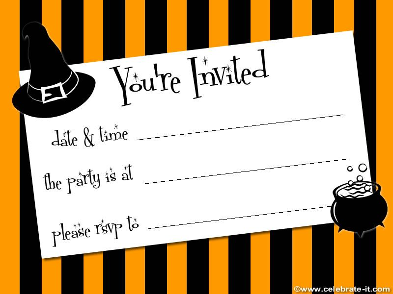 halloween party invitations | ... and Black Free Printable Halloween ...