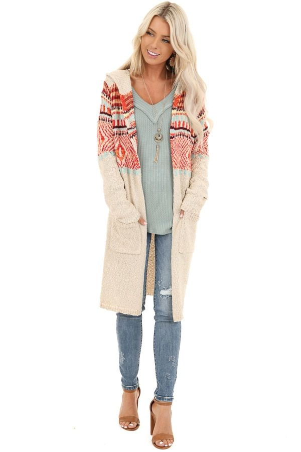Taupe and Multi Color Aztec Print Cardigan with Pockets #aztec
