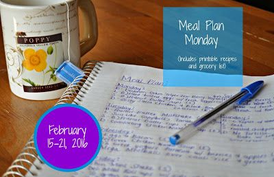 Darcie's Dishes: Meal Plan Monday: 2/15-2/21/16 // A seven day meal plan that includes all drinks, snacks and meals. A printable shopping list is also included to take away any guess work.