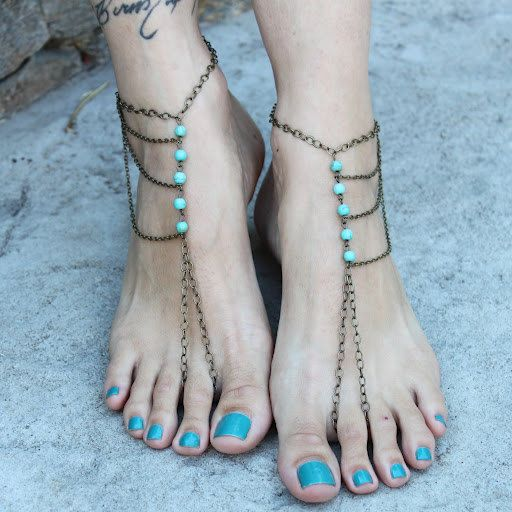 Beach Women Anklet Bracelet Hippie Slave Anklet Foot Chain Turquoise Barefoot Anklet Beach Jewellery Bridal Barefoot Sandals