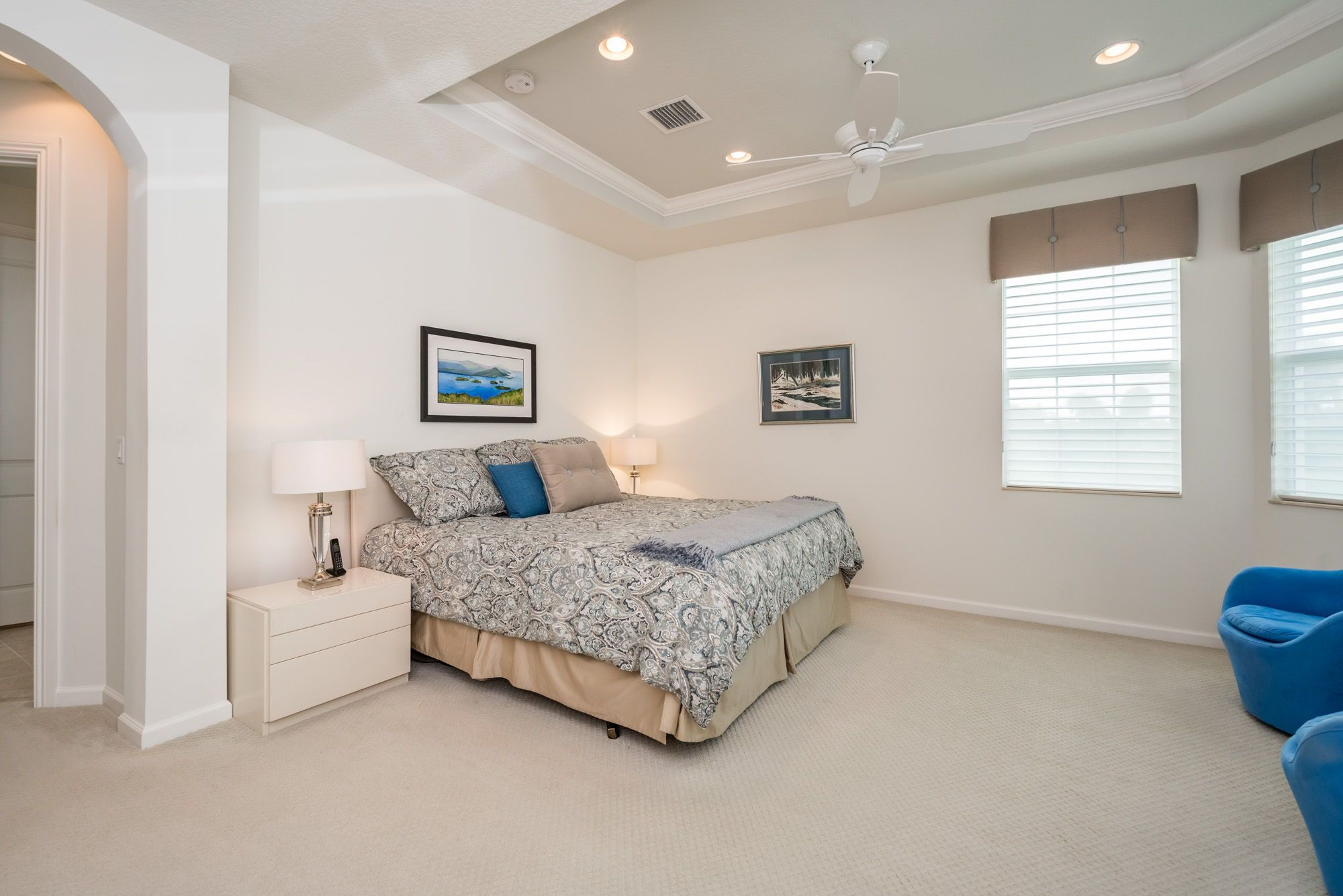 The Master Suite Has A Tray Ceiling With Recessed Lighting Crown Molding Large Windows With Golf Views Carpeted Fl Luxury Homes Bedroom Design House Design