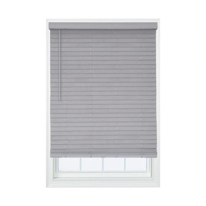 Allen Roth 2 In Cordless Gray Faux Wood Room Darkening Blinds Common 25 In Actual 25 In X 72 In Lowes Com In 2020 Room Darkening Blinds Faux Wood Blinds Wood Room